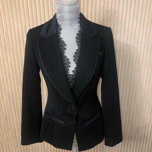 Elegant Black Blazer with Removable Lace Trim